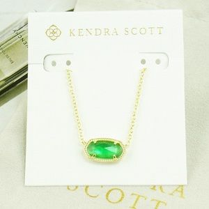 Kendra Scott Elisa jade green necklace gold
